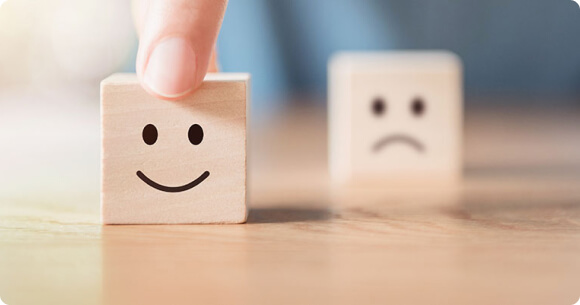 Smiley content et pas content